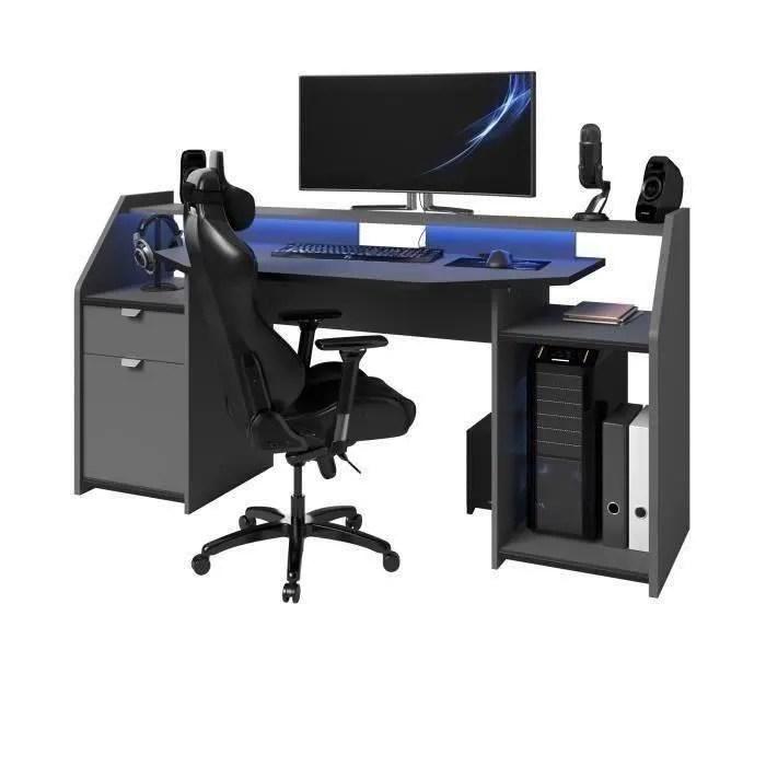 gaming bureau de gamer gris ombre et noir l 180 cm