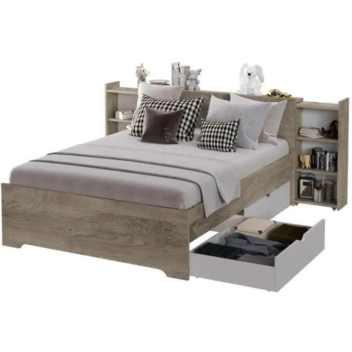 lit adulte 140x190 avec 2 tiroirs