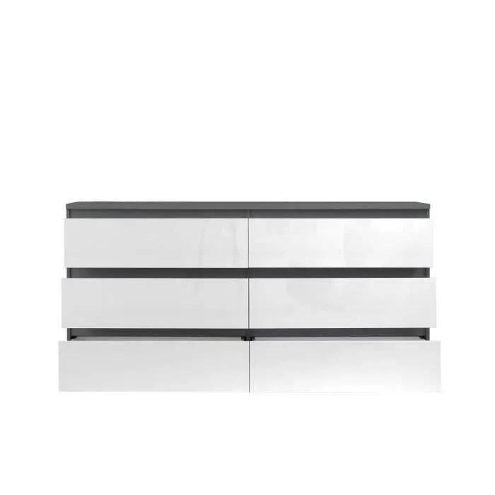natti commode de chambre style contemporain gris mat et blanc brillant l 154 cm