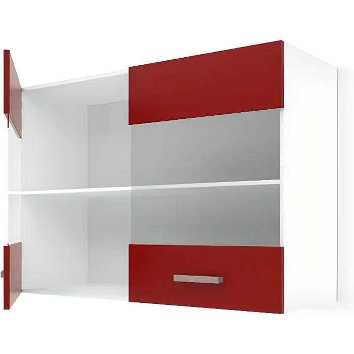 ultra meuble haut vitre de cuisine l 80 cm rouge mat