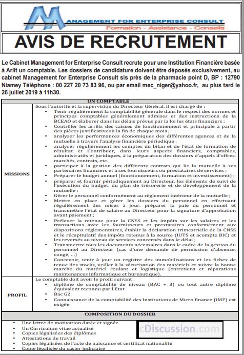 Le Cabinet Management for Enterprise Consult recrute 01 Comptable