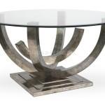 Mesa de almuerzo de tubo arqueado y cristal