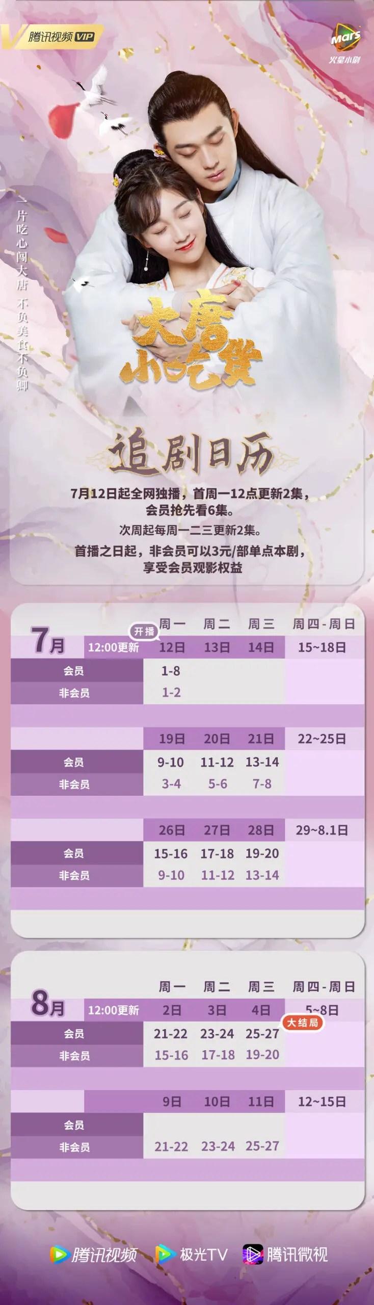 Gourmet in Tang Dynasty Drama Airing Calendar