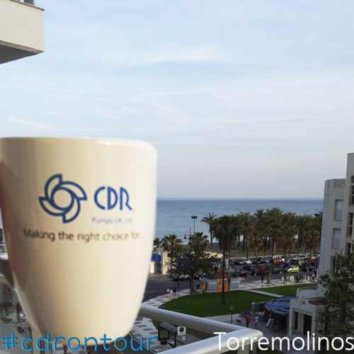 Now the CDR Pumps mug is in Spain, nice view from the balcony on Torremolinos