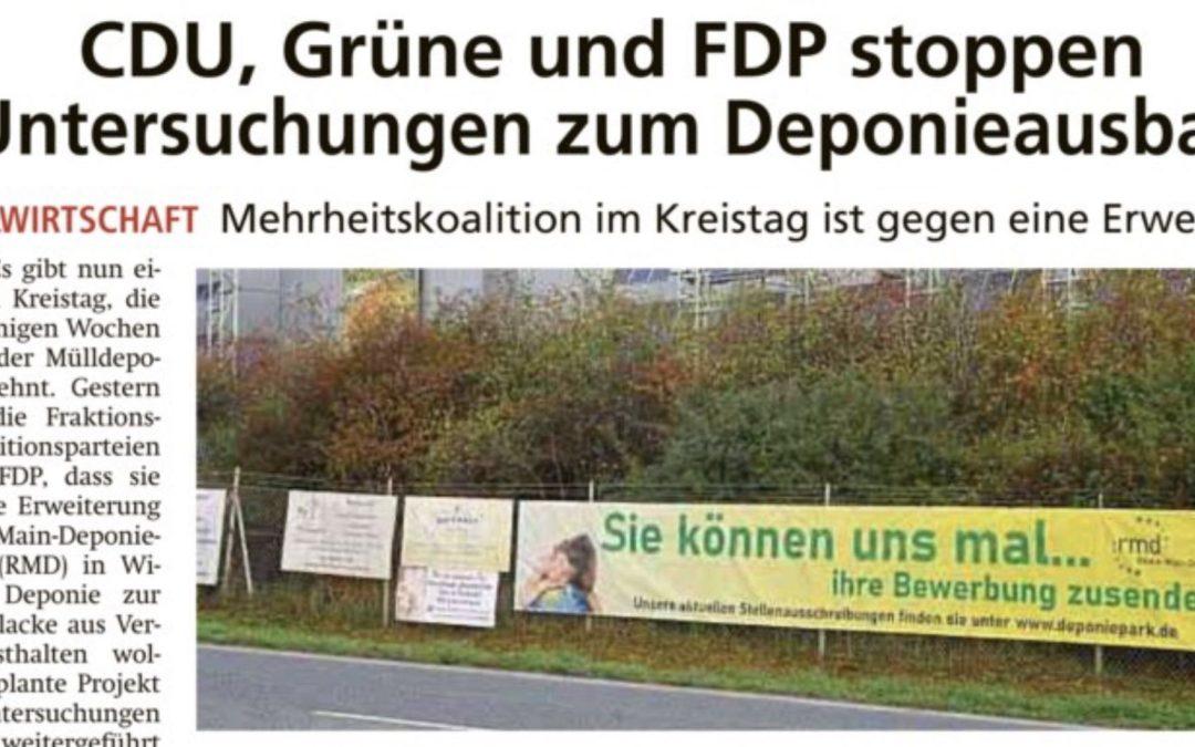 CDU, Grüne und FDP stoppen Untersuchungen zum Deponieausbau