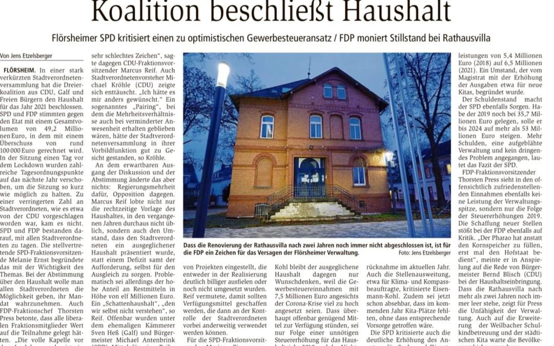 """Main-Spitze: """"Koalition beschließt Haushalt"""""""