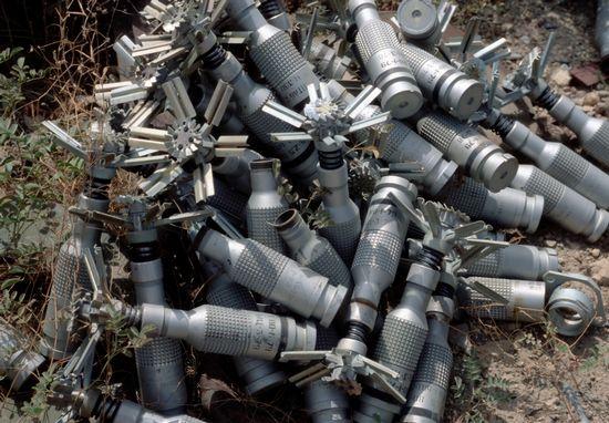 Submunitions piled near Bagram, Afghanistan, 2002