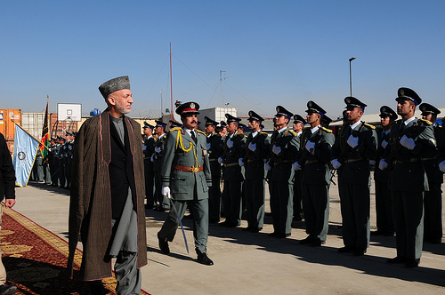 President Karzai at the Afghan National Police Training Centre (Photo: isafmedia)