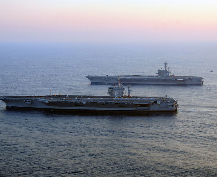 Aircraft carriers USS George H.W. Bush and USS Dwight D. Eisenhower