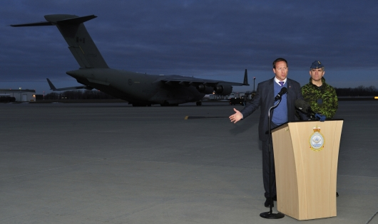 """Would you buy a used war from this man? Defence Minister MacKay announces Canada's """"one week"""" commitment to the war in Mali."""