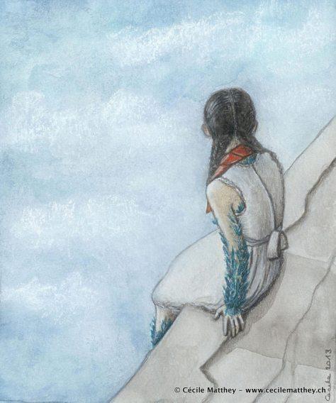 "Illustration inédite pour ""Bluebird magick"" d'Alexis A. Hunter (webzine ""The Future Fire)"