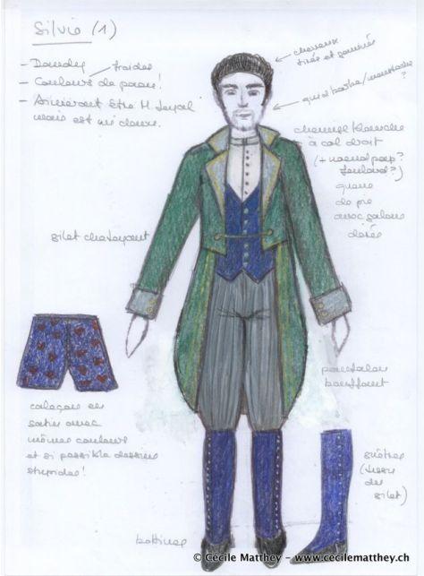 """Projet de costume réalisé pour """"Couple ouvert à deux battants"""" de Dario Fo (Théâtre de la Cité de Fribourg, 2013)"""