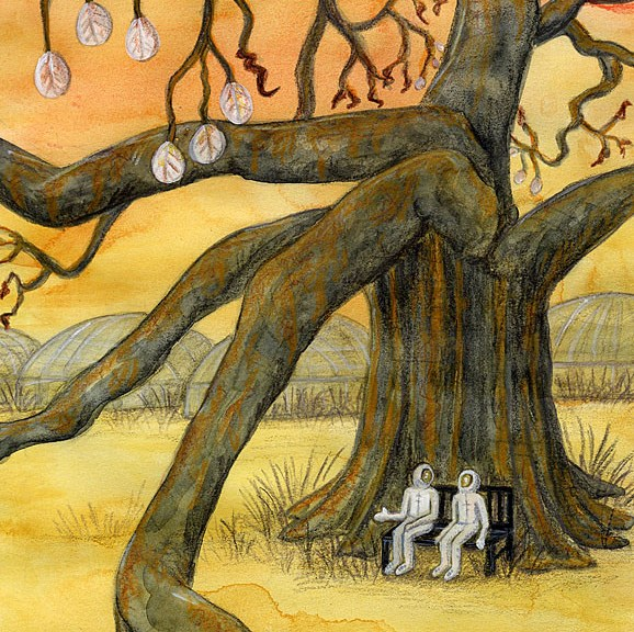 under the rusting tree