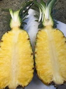 Pineapple cut in half