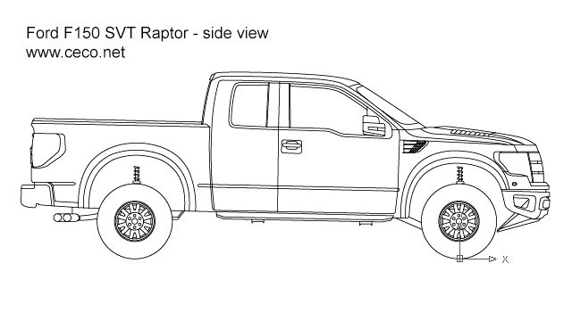 pick up ford f150 svt raptor side view block in vehicles cars