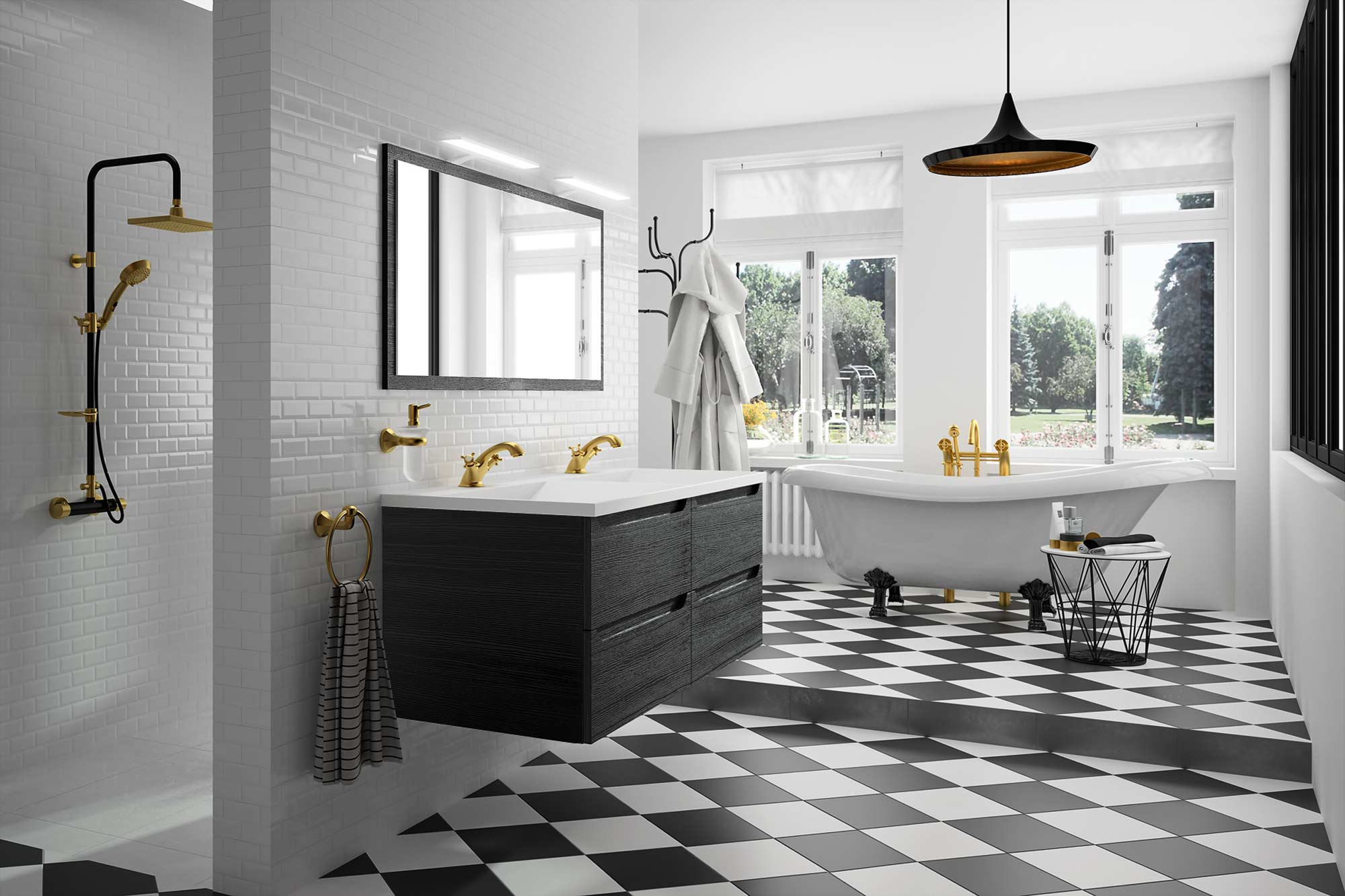 Duo Noir Et Blanc Au Look Retro Meubles De Salle De Bains Baignoires Fabricant Francais Cedam