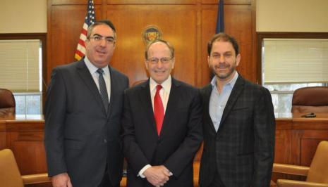 Mayor Weinstock with Trustee Ari Brown and Israel Wasser