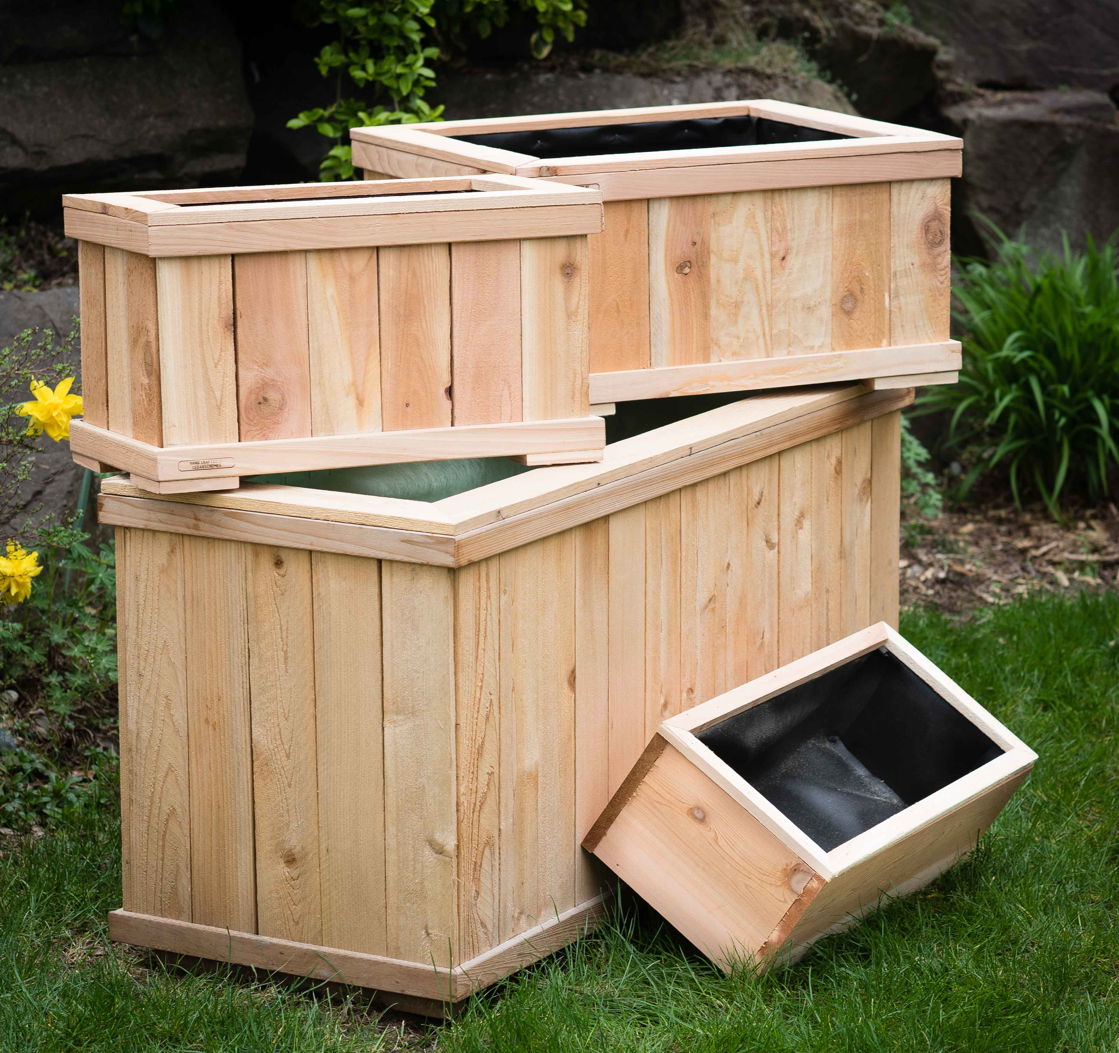our cedar planters handcrafted cedar planter boxes come in standard and custom sizing