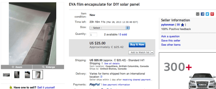 EVA solar film on ebay