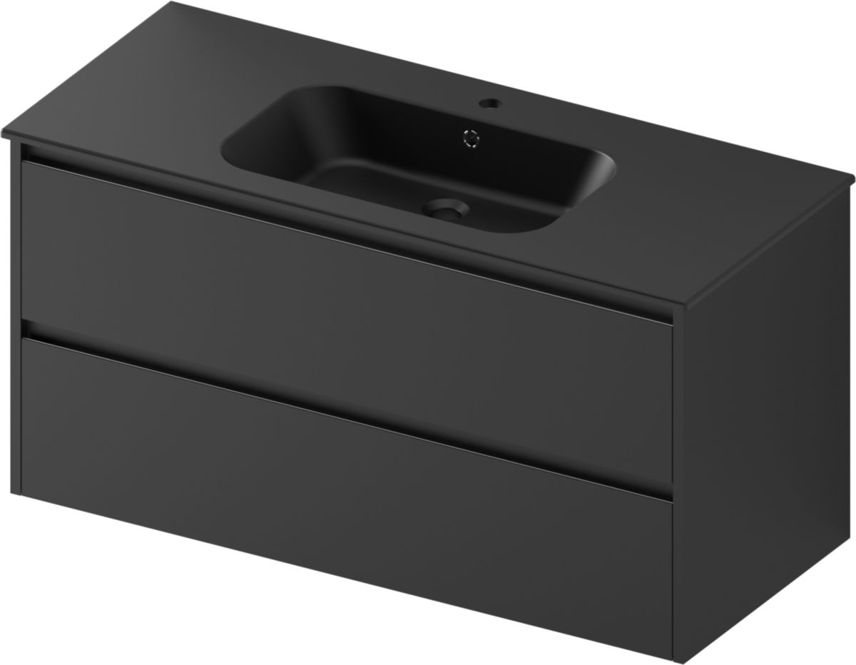 Alterna Plan De Toilette All Day Vasque Centree 120 Cm Ceramique Noir Mat Cedeo