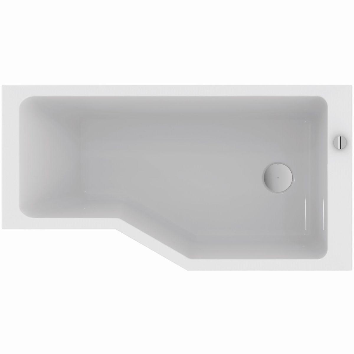 baignoire asymetrique plenitude 3 170 90 70 cm droite acrylique blanc vidage inclus