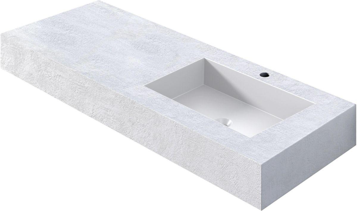 Alterna Plan 120 X 50 X 13 5 Cm Beton Blanc Vasque Asymetrique Droit Cedeo