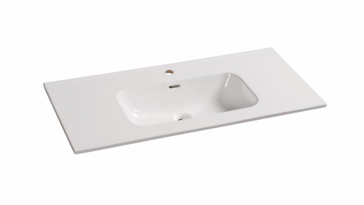 Alterna Plan Ceramique 100cm Domino Blanc 1 Vasque Centree Cedeo