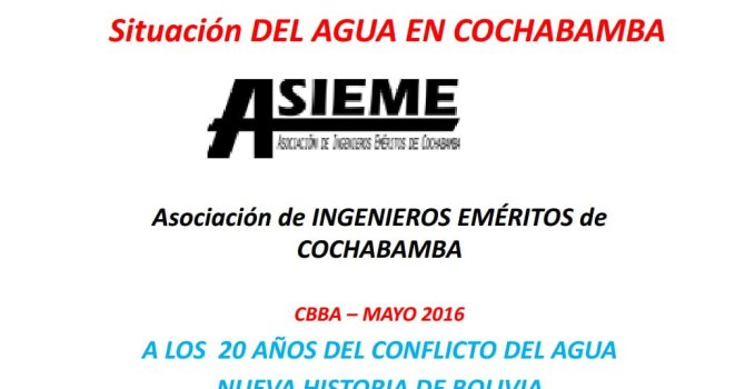 Situación del agua en Cochabamba – Asociación de Ingenieros Civiles