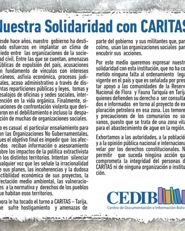 Nuestra Solidaridad con CARITAS (CEDIB, 4-7-17)