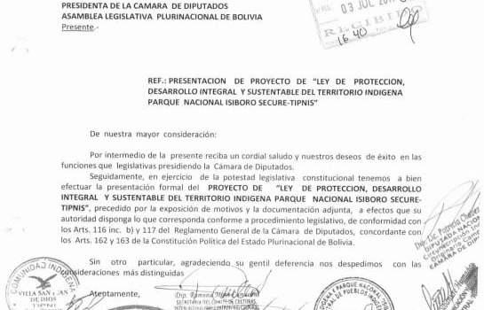 """Proyecto de """"Ley de protección, desarrollo integral y sustentable del Territorio Indígena Parque Nacional Isiboro Sécure"""""""
