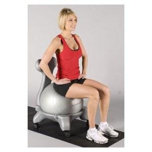 woman on yoga ball chair