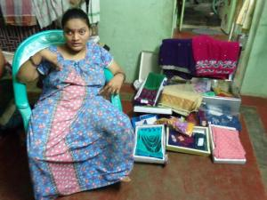 Saraswathi with her saree business