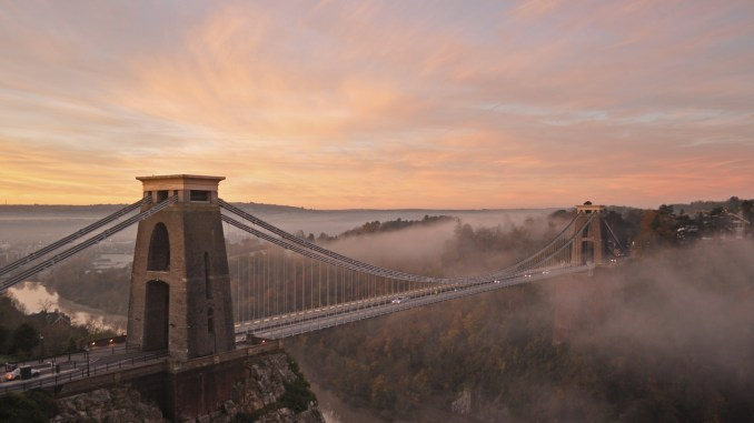 Bristol - Clifton Suspension Bridge at sunrise by Harshil Shah on Flickr | CC BY ND