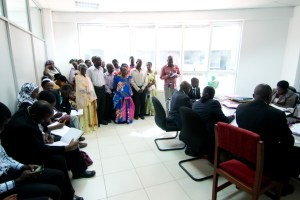 Affected residents attending a court session.