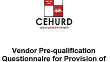 CEHURD Vendor Pre-qualification Questionnaire