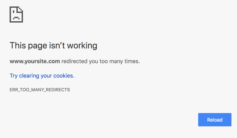 Screenshot of chrome's Too Many Redirects error