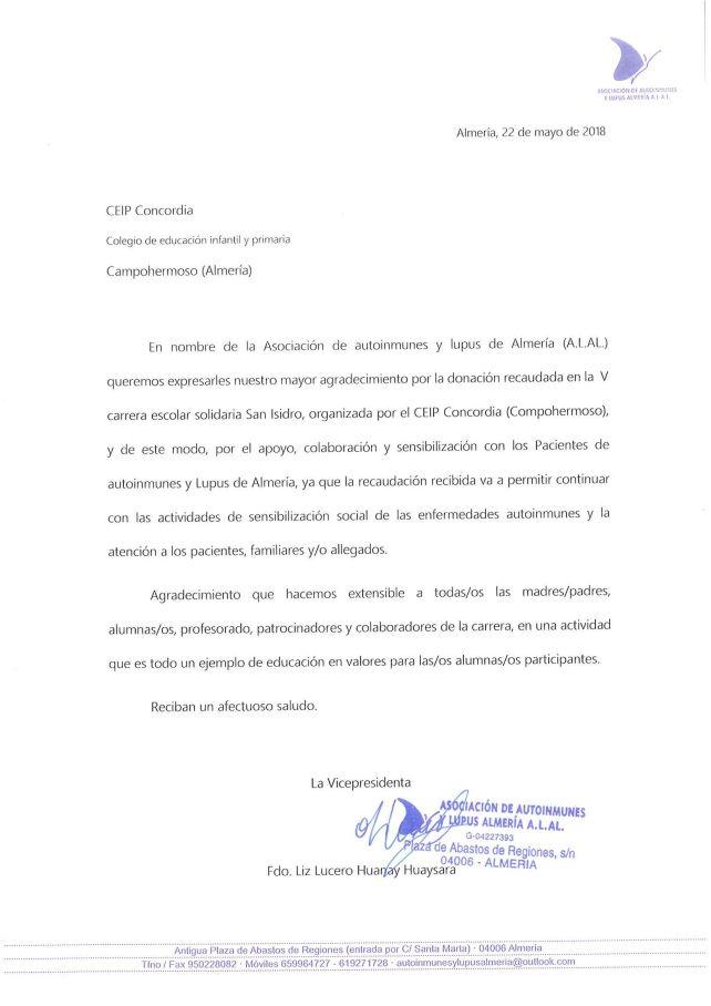 Carta de agradecimiento de ALAL