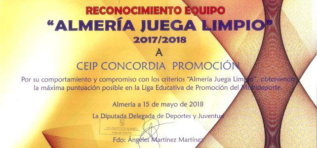Diploma Almería Juega Limpio CEIP Concordia 2017/2018