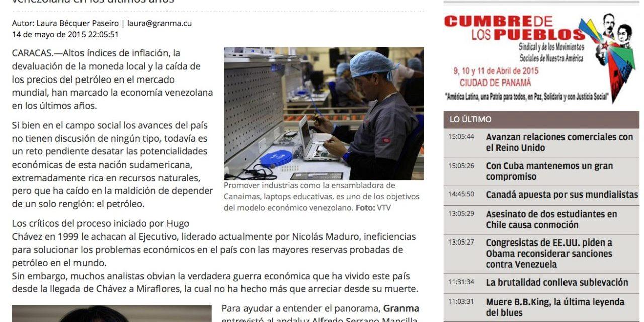 Entrevista Alfredo Serrano Mancilla en Diario Cubano Granma