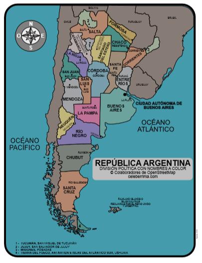 Mapa De Argentina Provincias.Mapa De La Republica Argentina Con Nombres De Provincias Y