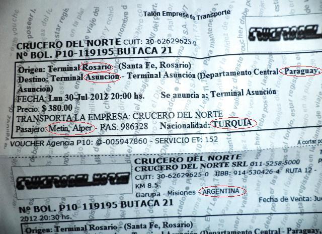 Argentina paraguay bus arjantin paraguay otobus bilet ticket
