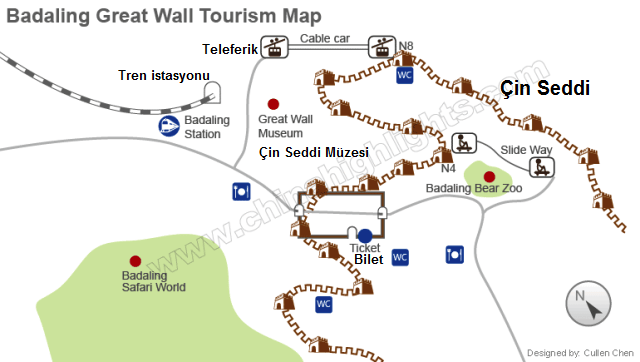 Çin Seddi gezi harita
