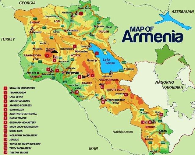 Ermenistan harita