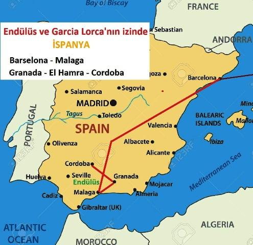 İspanya gezi planı haritası