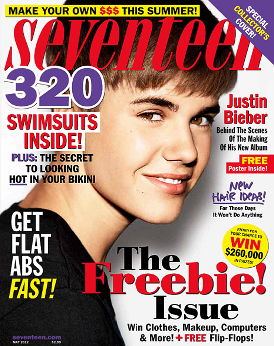7216175eb6 Of course Seventeen Magazine scooped up Justin Bieber for the cover of  their May issue. He of course did an interview that consist of a seventeen  year old ...