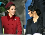 Duchesses Cambridge (left) and Sussex talking together after the Xmas Day service at Sandringham Church, 25th December, 2018.