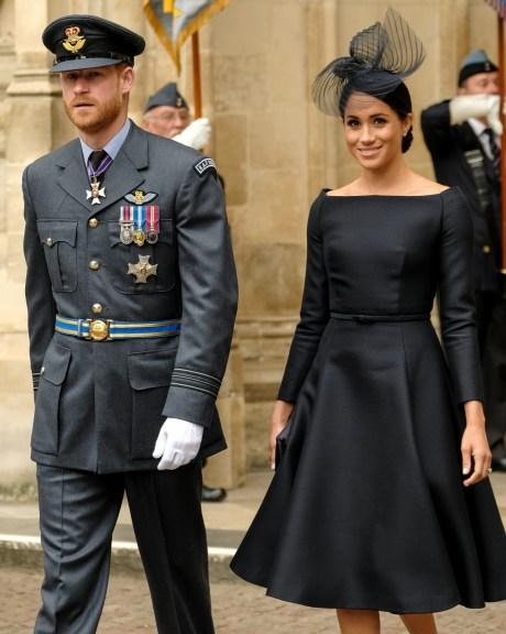 Il principe Harry, il duca di Sussex e Meghan, duchessa di Sussex in servizio in occasione del centenario della Royal Air Force il 10/07/2018