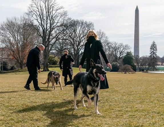 Il presidente Joe Biden con i suoi cani Major e Champ nel Rose Garden