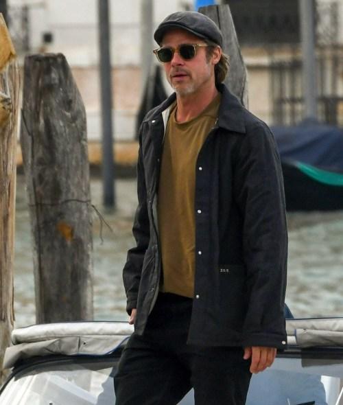 Brad Pitt in viaggio verso la Biennale d'arte a Venezia, Italia