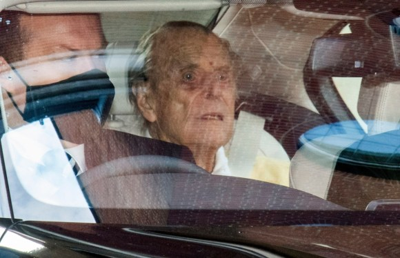 British Prince Philip, the Duke of Edinburgh, leaves King Edward VII Hospital in London.
